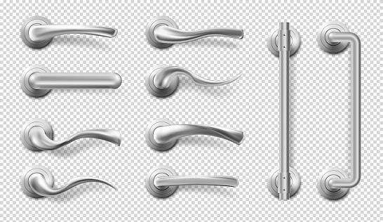 Vector realistic metal door handles and pulls