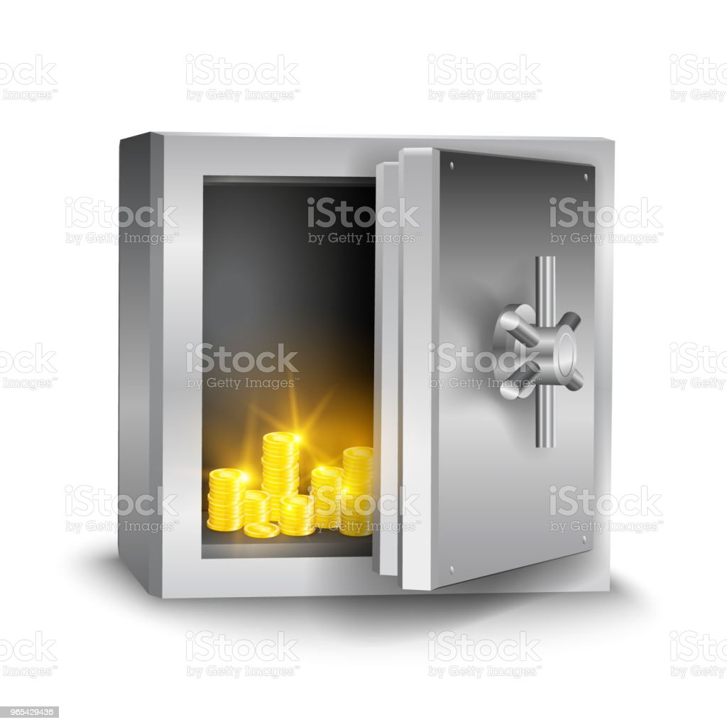 Vector realistic metallic open safe with shining gold coins isolated on white background vector realistic metallic open safe with shining gold coins isolated on white background - stockowe grafiki wektorowe i więcej obrazów bank royalty-free