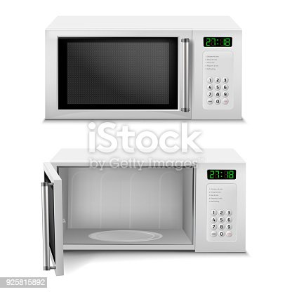 Vector 3d realistic microwave oven with digital display, front view, with open and close door isolated on background. Household appliance to heat and defrost food, for cooking, with timer and buttons