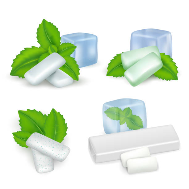 Vector realistic mint chewing gum icon set Vector realistic set of bubble gum with mint. Mint chewing gum types. mint candy stock illustrations