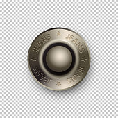 Vector 3D realistic silver metallic round button or rivets. Jeans with stars sign on metal button. Template mockup isolated on transparent background. Advertising and presentation vintage design element