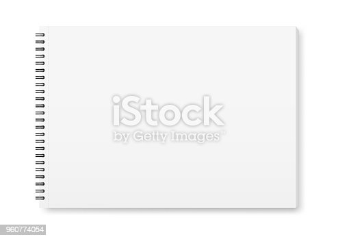 istock Vector realistic mock-up of the album for drawing with a black spiral. 960774054
