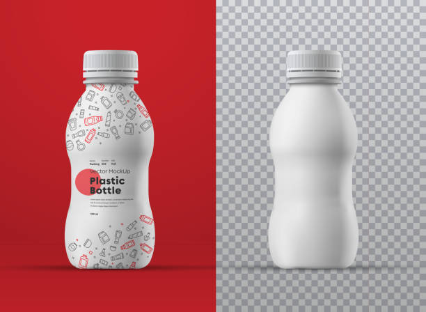 Vector realistic mockup of white plastic curly bottle for drinks. Vector realistic mockup of white plastic curly bottle for drinks. Universal for different volumes m milliliters. Template for the presentation of packaging design and labels bottle stock illustrations