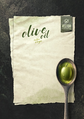 Vector realistic olive illustration, wooden spoon and oil on black stone background