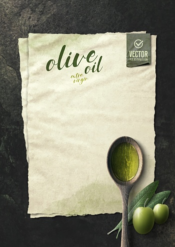 Vector realistic olive illustration, wooden spoon, paper and oil on black stone background