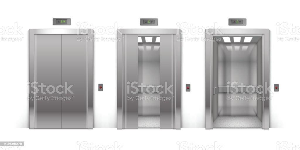 open and closed door clipart. Vector Realistic Open Half-Open Half-Closed And Closed Chrome Metal Office Building Elevator Door Clipart I