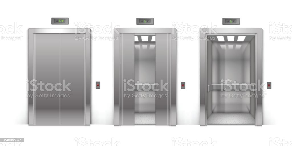 Vector Realistic Open Half-Open Half-Closed and Closed Chrome Metal Office Building Elevator Doors on Background vector art illustration