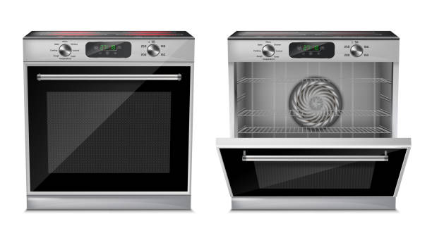 Vector realistic oven with induction cooktop Vector 3d realistic compact oven with induction cooktop, with pre-set cooking programs, with open and close door, front view isolated on background. Built-in household appliance, modern stove oven stock illustrations