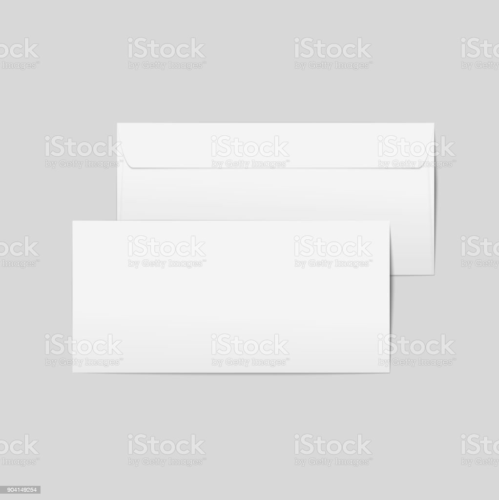 Vector realistic paper envelopes. Front and back with transpapernt background, ready for your design. vector art illustration