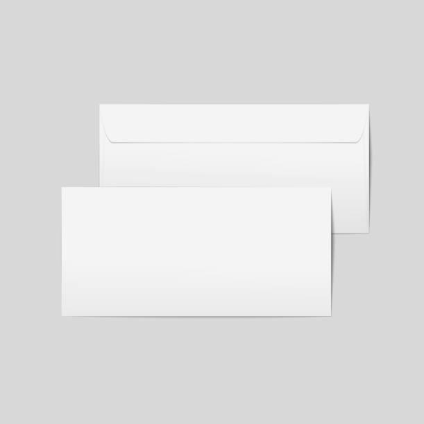 Vektor realistische Papierumschläge. Vorne und hinten mit Transpapernt Hintergrund, bereit für Ihr Design. – Vektorgrafik