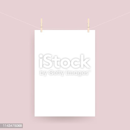 Vector realistic paper poster hanged on rope with clothespin
