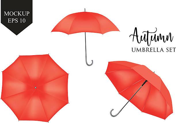 illustrazioni stock, clip art, cartoni animati e icone di tendenza di vector realistic parasol, rain umbrella sunshade set. round mock up - mockup outdoor rain