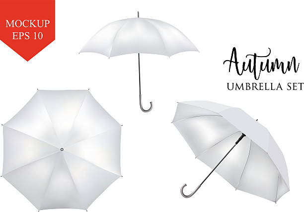 illustrazioni stock, clip art, cartoni animati e icone di tendenza di vector realistic parasol, rain umbrella sunshade set. round mock up - mockup outdoor rain