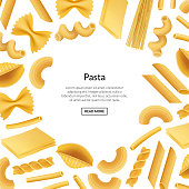 Vector realistic pasta types background banner illustration