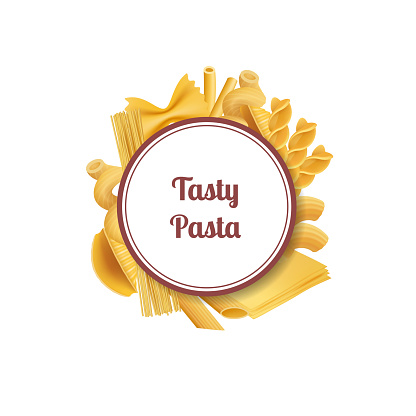 Vector realistic pasta types with place for text illustration