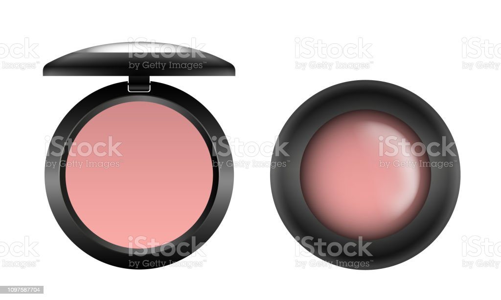 Vector realistic pink blusher in a black container opened and closed isolated on white background