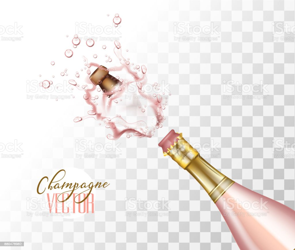 vector realistic pink champagne explosion closeup vector art illustration