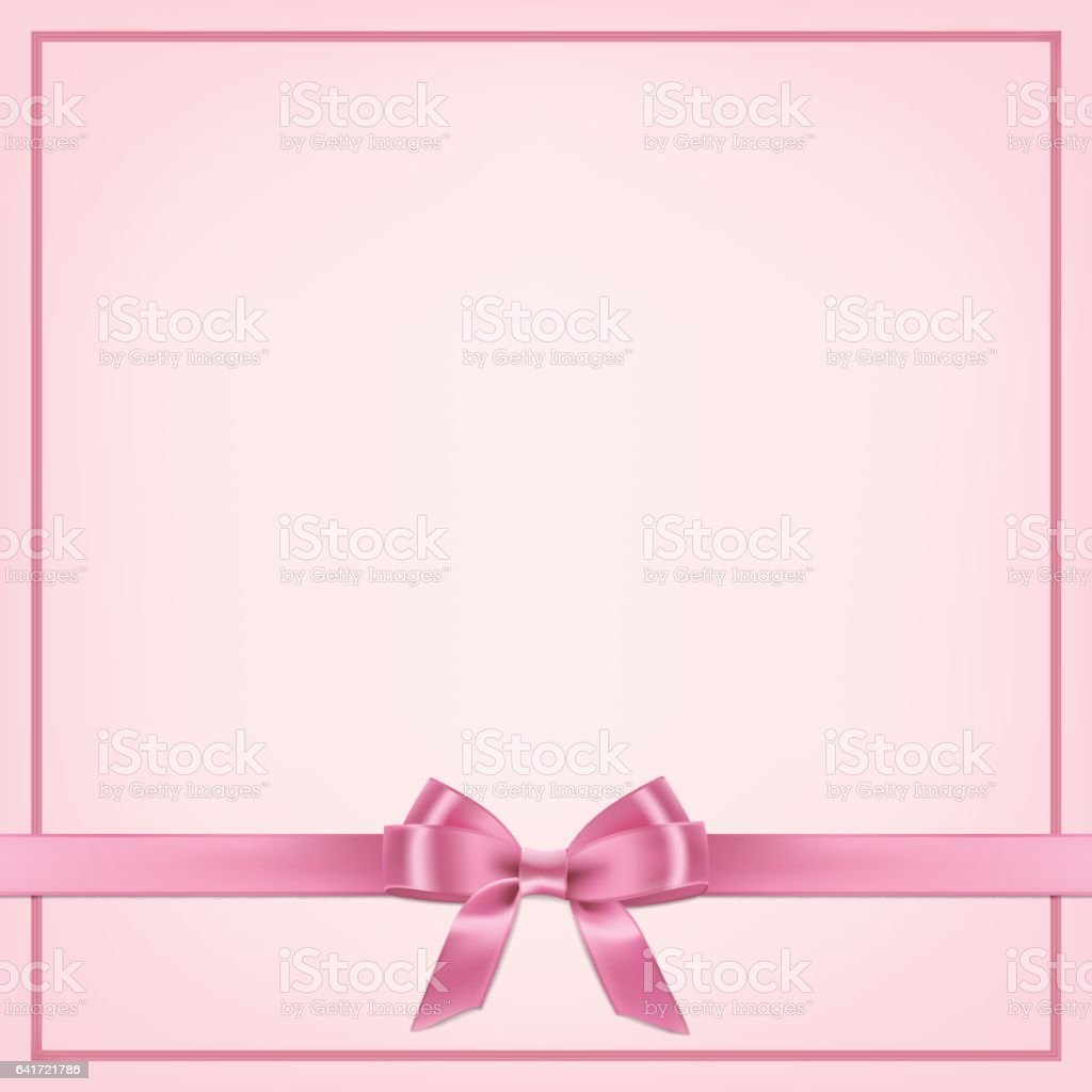 Vector realistic pink postcard template with ribbon and bow. vector art illustration