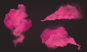 Pink smoke, magic dust or powder isolated on dark background. Vector realistic mockup of flow mist, transparent smoky stream. Aroma pink clouds texture, steaming chemincal vapour