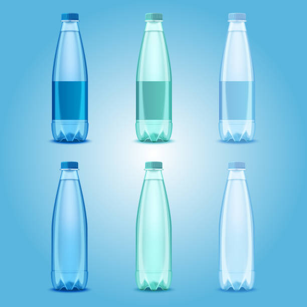 Vector realistic plastic drinking water bottles set Water bottles set. Vector realistic transparent plastic bottles with mineral water templates mockups. volume fluid capacity stock illustrations