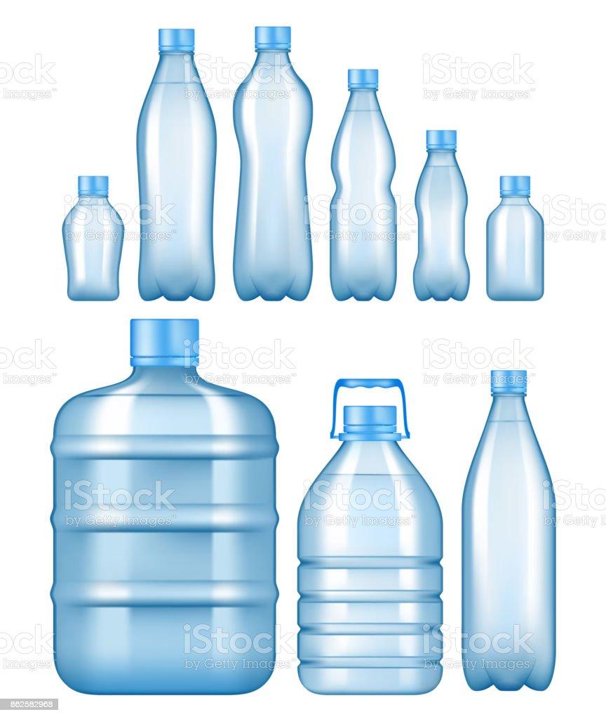 Vector realistic plastic water bottles set vector art illustration