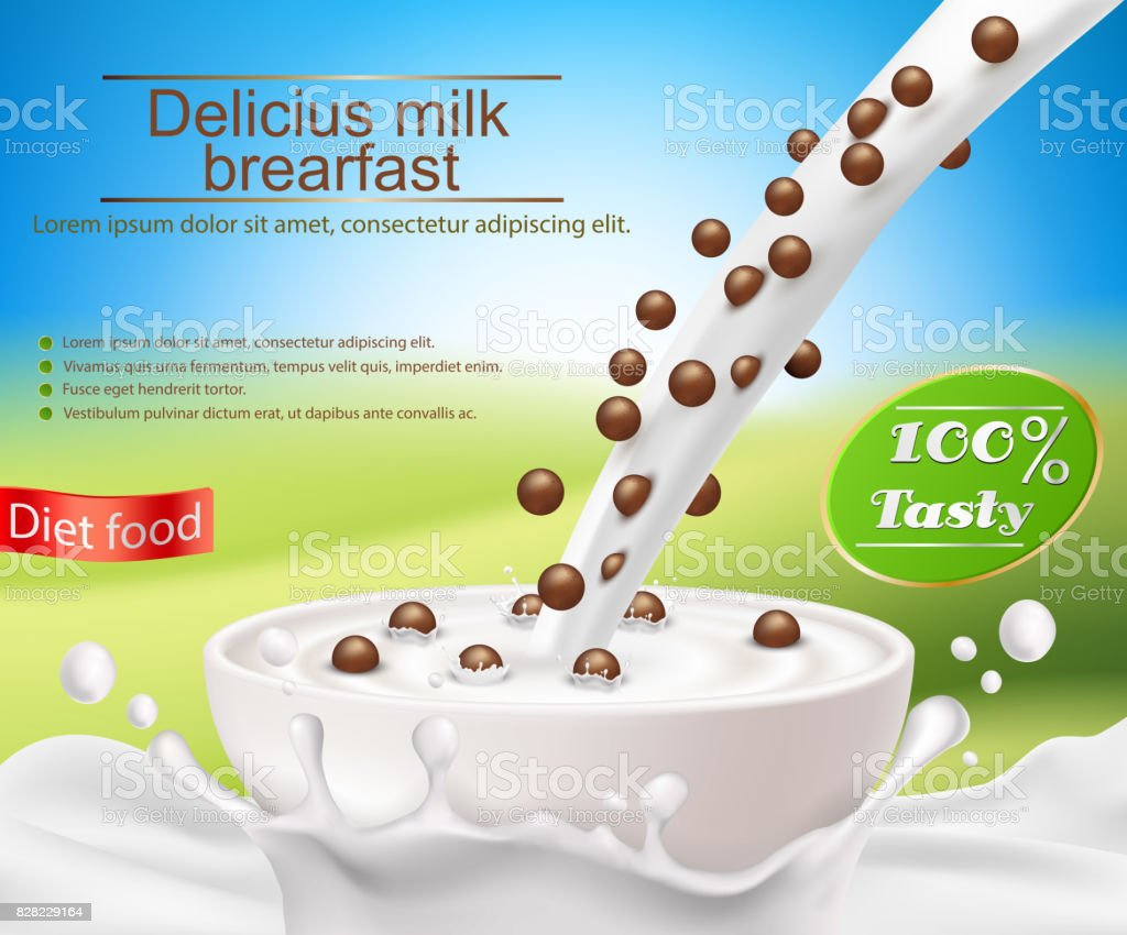Vector Realistic Poster With A Milk Splash And Pouring Into Cup Cereal