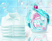 Vector realistic promo banner of washing powder, poster for advertising liquid detergent in bottle, jar. 3d template for product, concept with soap bubbles, foam. Bathroom background for internet, web