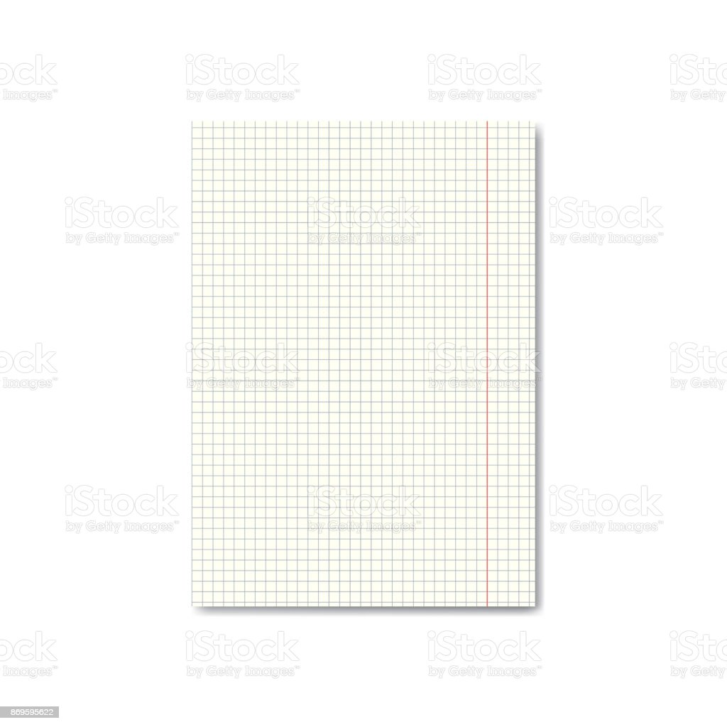 vector realistic quadrille or graph paper sheet with margins stock