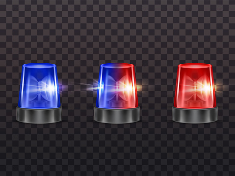 Vector realistic red, blue flashers. Emergency beacon