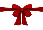 Vector realistic red bow. Bow of satin ribbon. Velvet bow. Isolated on white. For the design of drawings with gifts, gift wrapping, postcards and other printed products. Vector EPS 10.