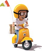 Detailed icons representing yellow retro pizza delivery scooter and scooter driver in helmet