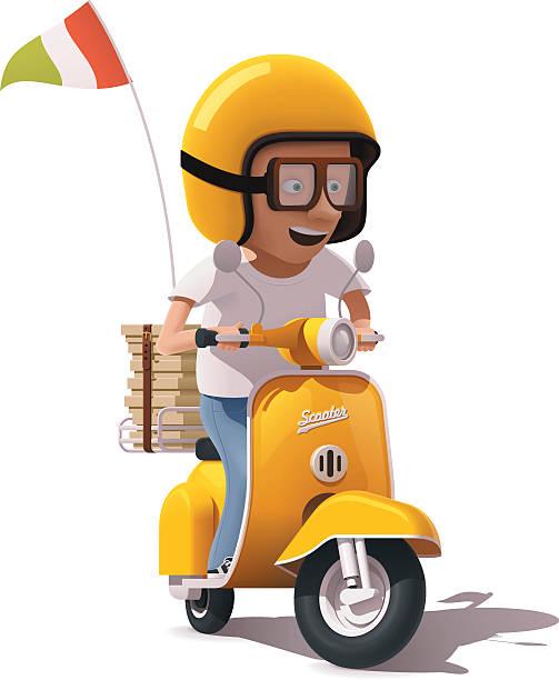 vector realistic retro pizza delivery scooter and courier driver icon - fahrzeug fahren stock-grafiken, -clipart, -cartoons und -symbole