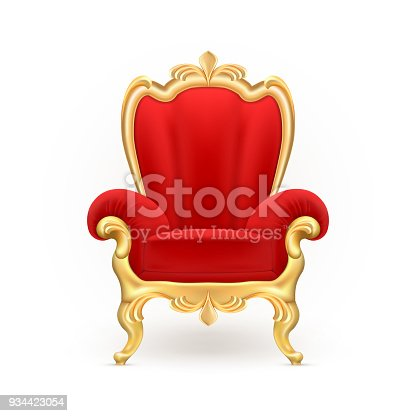 Vector realistic royal throne, luxurious red chair with carved golden legs isolated on background. Gilded antique armchair in victorian style. Object of expensive, exclusive furniture for vip person