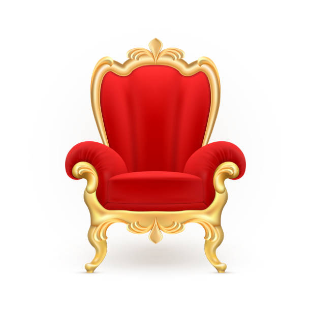 Vector realistic royal throne, luxurious red chair Vector realistic royal throne, luxurious red chair with carved golden legs isolated on background. Gilded antique armchair in victorian style. Object of expensive, exclusive furniture for vip person armchair stock illustrations