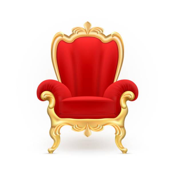 bildbanksillustrationer, clip art samt tecknat material och ikoner med vector realistiska kungliga tron, lyxiga röda stol - celebrities of age