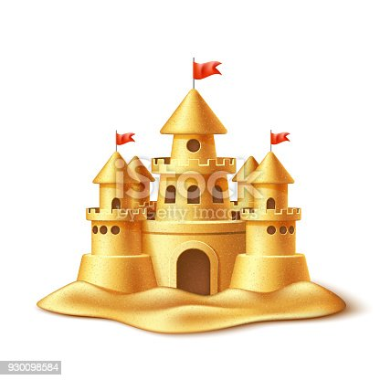istock Vector realistic sand castle, fort fortress towers 930098584
