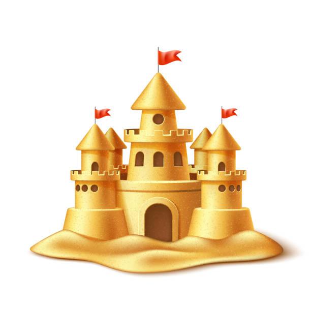 illustrations, cliparts, dessins animés et icônes de château de sable réaliste vector, fort forteresse tours - chateau de sable