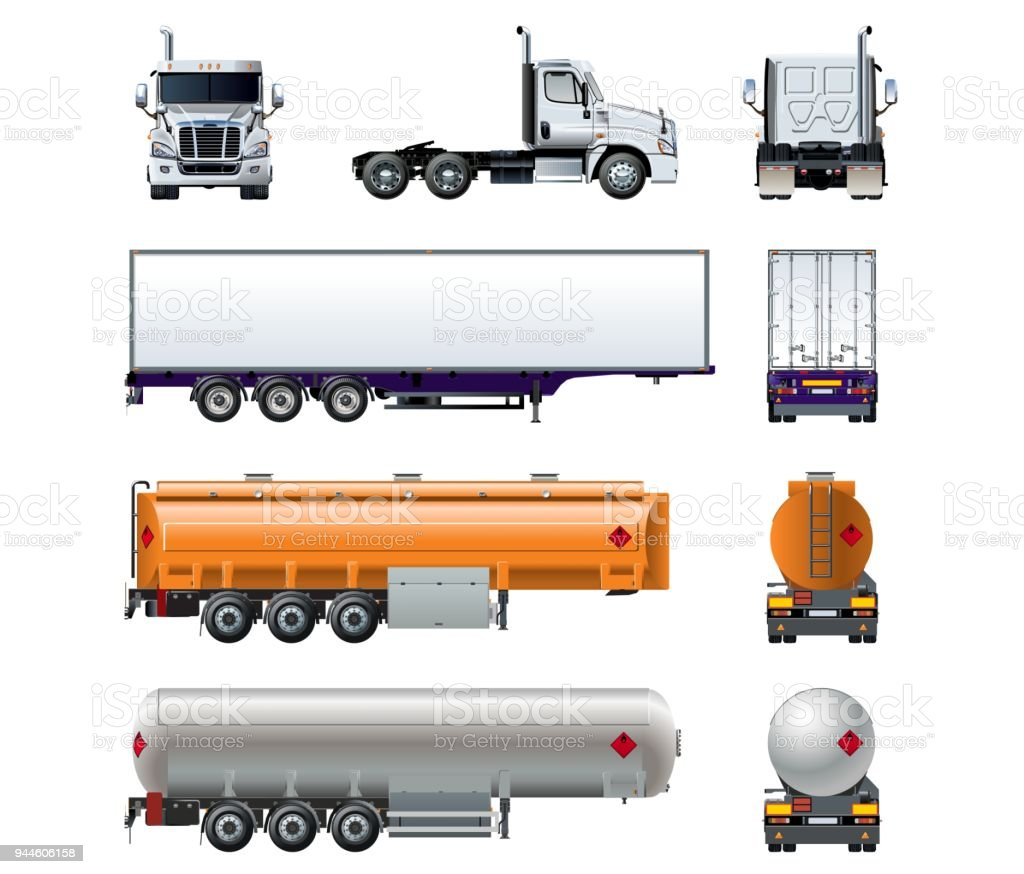 Vector realistic semi truck mockup set isolated on white vector art illustration