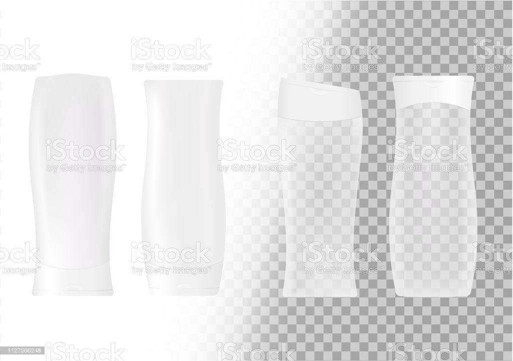 Vector realistic set of cosmetic bottles. shampoos, gels, creams....