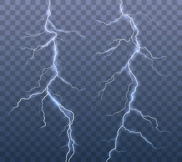 Vector realistic set of lightning effects isolated on transparent background Vector realistic set of lightning effects isolated on transparent background thunderstorm stock illustrations