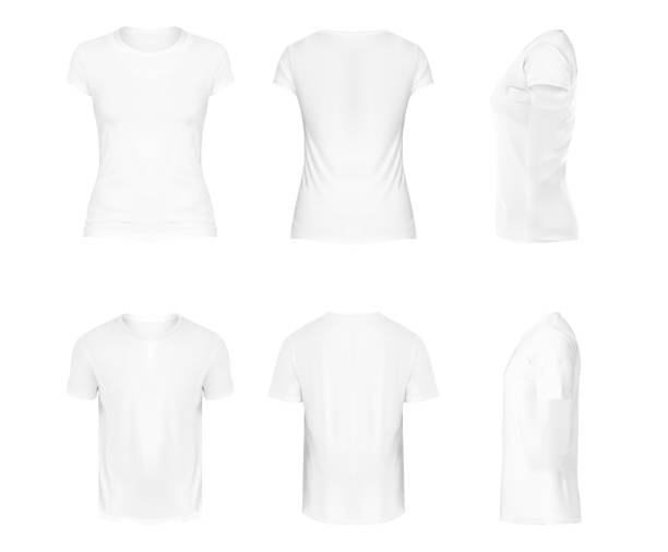 ilustrações de stock, clip art, desenhos animados e ícones de vector realistic set of white round neck t-shirts with short sleeves, sportswear, sport uniform for football or rugby isolated on white background. mockup for clothes design, front, rear and side view - teeshirt template
