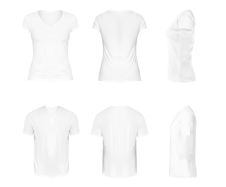 Vector realistic set of white v-neck t-shirts with short sleeves, sportswear, sport uniform for football or rugby isolated on white background. Mockup for clothes design, front, rear and side view