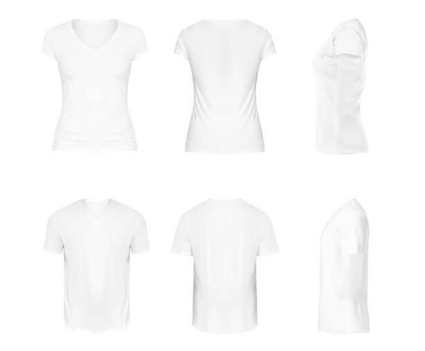 ilustrações de stock, clip art, desenhos animados e ícones de vector realistic set of white v-neck t-shirts with short sleeves, sportswear, sport uniform for football or rugby isolated on white background. mockup for clothes design, front, rear and side view - teeshirt template