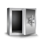 Vector realistic shiny open empty safe isolated on white background