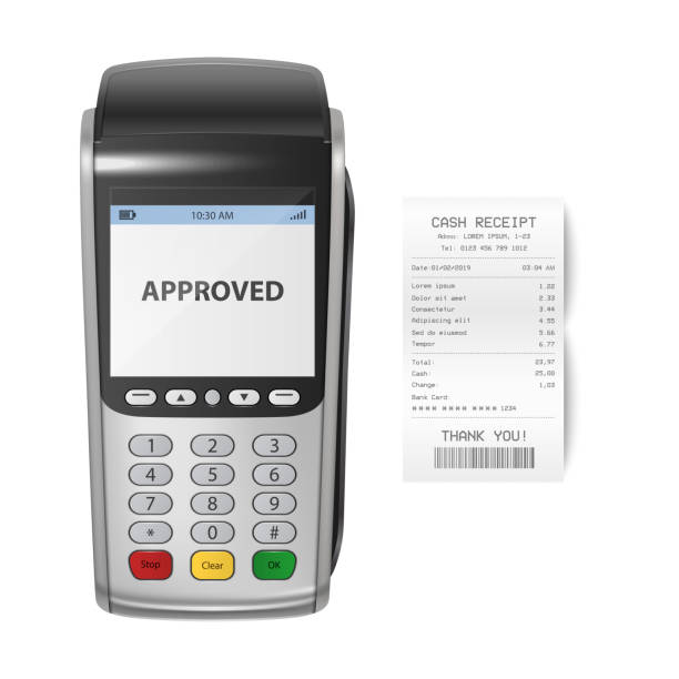 Vector Realistic Silver 3d Payment Machine. POS Terminal with Receipt Closeup Isolated on White Background. Design Template of Bank Payment Terminal, Mockup. Processing NFC payments device. Top View Vector Realistic Silver 3d Payment Machine. POS Terminal with Receipt Closeup Isolated on White Background. Design Template of Bank Payment Terminal for Mockup. Processing NFC payments device. Top View station stock illustrations