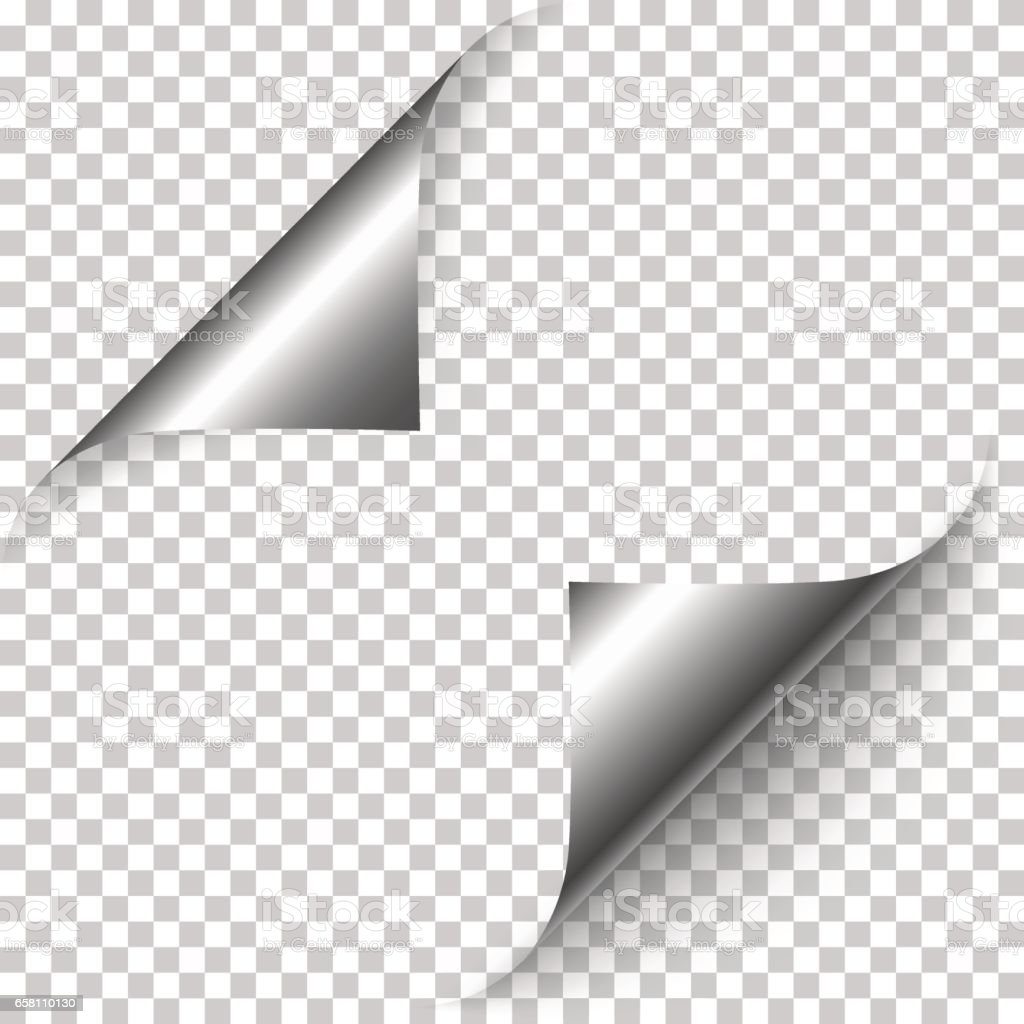 Vector realistic silver foil paper corners vector art illustration