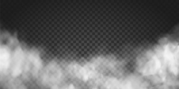 Vector realistic smoke cloud or gray fog, rocket or missile launch pollution. Abstract gas on transparent background, vapor machine steam or explosion dust, dry ice effect, condensation, fume Vector realistic smoke cloud or gray fog, rocket or missile launch pollution. Abstract gas on transparent background, vapor machine steam or explosion dust, dry ice effect, condensation, fume smoking activity stock illustrations