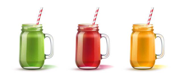 bildbanksillustrationer, clip art samt tecknat material och ikoner med vektor realistisk smoothie i murare burk glas som - smoothie