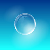 Vector transparent realistic soap bubble isolated on blue background. Easy to use for your design.