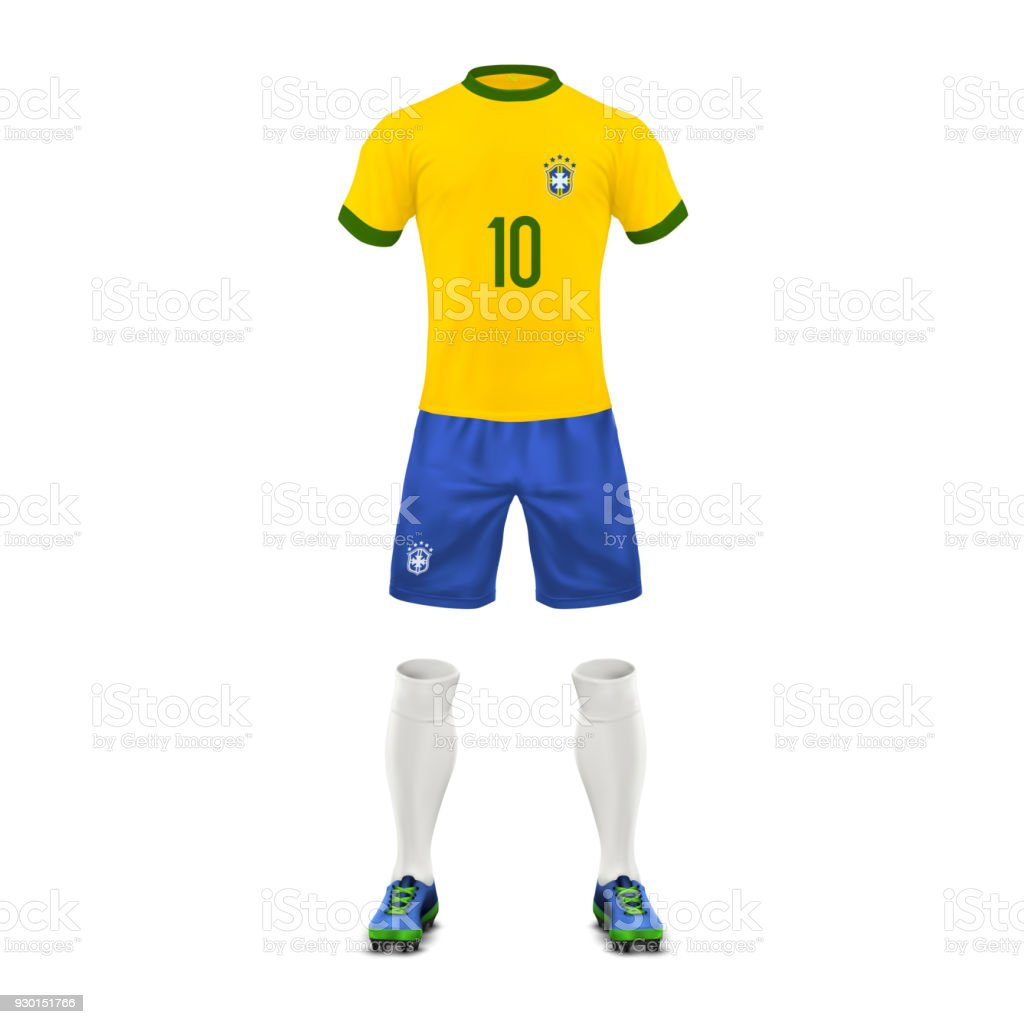 Vector realistic soccer uniform of a brazil team vector art illustration